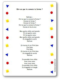 Comptine Est-ce que tu connais la forme ? 1st Grade Math, Kindergarten Math, Teaching Math, French Language Lessons, French Lessons, French Class, Shape Songs, French Poems, French Practice