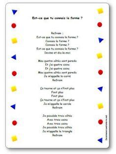 Comptine Est-ce que tu connais la forme ? French Teaching Resources, Teaching French, Teacher Resources, 1st Grade Math, Kindergarten Math, Teaching Math, French Language Lessons, French Lessons, Preschool Songs