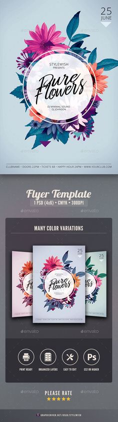 Pure Flowers Flyer — Photoshop PSD #hipster #blossom • Download ➝ https://graphicriver.net/item/pure-flowers-flyer/19581710?ref=pxcr