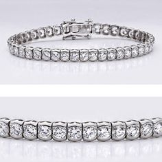 Classic cubic zirconia bracelet features brilliant round stones (0.15 carat each) in a semi bezel mounting. An approximate 6.75 total carat weight, set in 14k white gold. This high quality cubic zirconia bracelet is 7 inches long, also available in different lengths and in 14k yellow gold via special order. Cubic zirconia weights refer to equivalent diamond carat size.