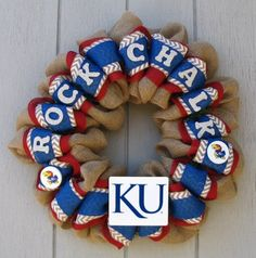 Kansas University Burlap Rock Chalk Jayhawk KU wreath, wall or door decor on Etsy, $60.00