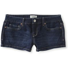 Aeropostale Dark Wash Denim Shorty Shorts ($13) ❤ liked on Polyvore