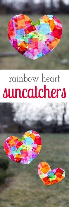 Crafters of all ages will enjoy learning how to make gorgeous Rainbow Heart Suncatchers with tissue paper and glue, perfect for Valentine's Day!  via @HTTP://www.pinterest.com/fireflymudpie/