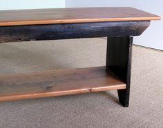 Barn Wood Plank Bench with Shelf