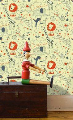 Circus Wallpaper - Monument Interiors #childrenswallpaper #kidswallpaper #kidsroom #nursery