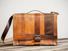 """Leather Messenger Bag, Hand Cut and Dyed // """"strappy"""" by fullgive"""