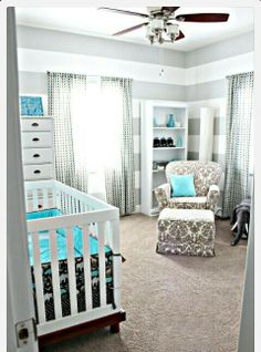 Cute blue and grey nursery!!