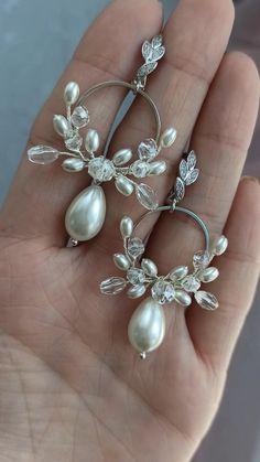 Bridal Earrings, Chandelier Earrings, Beaded Earrings, Statement Earrings, Vintage Earrings, Handmade Wire Jewelry, Wire Wrapped Jewelry, Earrings Handmade, Beaded Wedding Jewelry