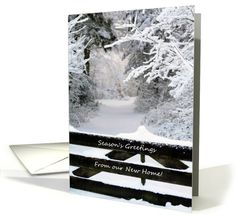 Season's Greetings from our new home - Fence in snow card