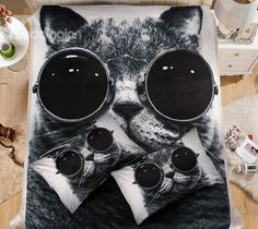 Cool Cat with Sunglasses Print Coral Fleece 4-Piece Duvet Cover Sets #bedding #3d #bedroom