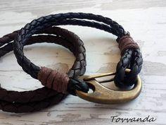 Nautical Modern Nature Black Leather Bracelet Mens by tovvanda