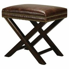 """Showcasing handsome nailhead trim and leather upholstery, this eye-catching ottoman brings classic appeal to your living room or home library.  Product: OttomanConstruction Material: Wood and leatherColor: Mahogany and dark tanFeatures:  Nailhead trimCross legDimensions: 19.75"""" H x 21"""" W x 17"""" DCleaning and Care: Wipe with damp cloth"""
