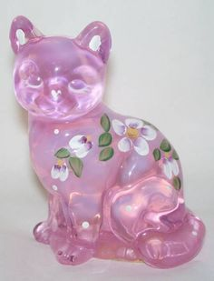 5165H2, Fenton Pink Chiffon Hand Painted Cat