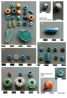 Glass beads from Anglo-Saxon cemetery overlying the Iron Age roundhouses. century royal cemetery at Street House, NE Yorkshire, England Medieval Jewelry, Medieval Clothing, Viking Jewelry, Ancient Jewelry, Antique Jewelry, Viking Garb, Viking Costume, Norse Vikings, Anglo Saxon