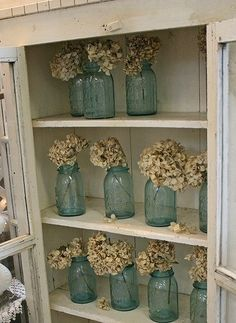 pretty blue mason jars - perfect for an old pie safe Blue Mason Jars, Bottles And Jars, Glass Bottles, Country Decor, Farmhouse Decor, Farmhouse Style, Vintage Jars, Vintage Decor, Pie Safe