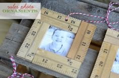 ruler photo ornaments   #DIY #christmas #ornaments