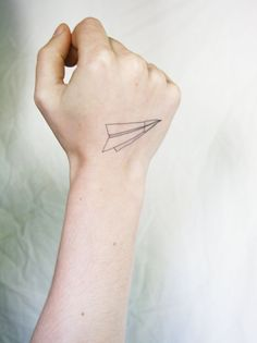 paper airplane temporary tattoo