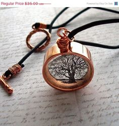 Etsy の tree of life necklace copper and resin by underglass