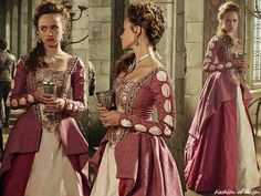 Reign episodes 3x09 and 3x16, Claude wears this Reign Costumes custom pink and ivory embellished dress.