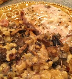 An easy to make casserole with wild rice, mushrooms, and pork chops all in a rich creamy sauce. Pork Chop Rice Casserole, Stuffing Casserole, Casserole Recipes, Casserole Dishes, Wild Rice Recipes, Pork Chop Recipes, Meat Recipes, Pork Chops And Rice, Kitchens