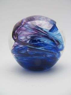 Paperweight Blue Purple Paperweight by KennethMarineGlass, $45.00