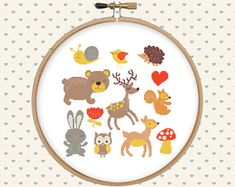Animal cross stitch pattern pdf  cute forest by GentleFeather