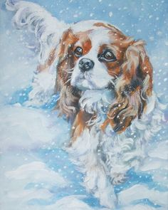 Cavalier King Charles Spaniel art print CANVAS by TheDogLover