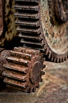 "Rusty Old Gears from Jerome Arizona, I ""grunged"" them up running them through Nik Software and Making 3 exposures 1 with HDR #HDR #Gear #AZ"