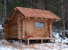 Adirondack lean-to style cabins. Similar to the classic lean-to style, but with a log front, windows, and a door.