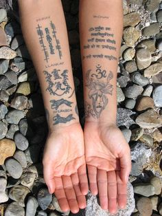 The tattoos on my inner arms, where you will find the 3 Incan Laws inscribed along with several other ancient scriptures, mantras and symbols.