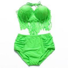b54b84783c532 Trangel Bikini Vintage Long Tassel Fringe Women Female High Waist Swimsuit  Wear Push up Bikini Bathing Suits Plus Size 4XL MG665