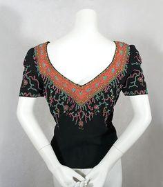 1930-е годы одежда в Vintage текстиля: # 6919 вышитый бисером вечер блузка