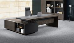 9 Feet Office Table In Walnut & Leather Premium Office Table, Walnut & Leather Finish, 9 Feet Width, Contemproary Design, Professionally Delivered & Installed Across India At No Extra Cost! Office Cabin Design, Home Office Setup, Office Furniture Design, Office Interior Design, Office Interiors, Office Desks, Executive Office Desk, Office Spaces, Office Style