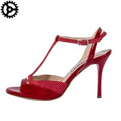 """Beautiful """"Alma"""", woman tango shoes  in red patent leather and red&white suede! from 140 € to 133 € for only those who register on our website!  http://www.italiantangoshoes.com/shop/en/women/489-alagalomi.html"""
