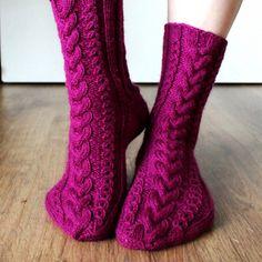 Ravelry: November Socks pattern by Niina Laitinen- free knitting pattern Crochet Socks, Knitted Slippers, Wool Socks, Slipper Socks, Knitting Socks, Free Knitting, Knitting Patterns, Pink Socks, My Socks