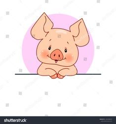 Happy piggy sign board: vector illustration for your text Cartoon Pics, Cute Cartoon, Animal Drawings, Cute Drawings, Pictures To Draw, Cute Pictures, Pig Crafts, Pig Art, Mini Pigs