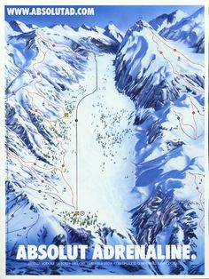 Absolut Adrenaline.    Overview of a ski slope map.