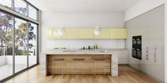 Fresh coastal design, cashmere white granite tops and timber flooring as barbacking. Port Stephens, NSW.