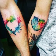his and her matching love watercolor tattoos