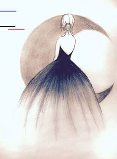 Illustration Moon Art is the way u imagine. No imagination no art. & nothing is better tha. Girl Drawing Sketches, Girly Drawings, Art Drawings Sketches Simple, Pencil Art Drawings, Easy Drawings, Drawing Ideas, Drawing Tips, Pencil Sketch Art, Tumblr Drawings Easy