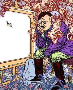 "Gabriele Arruzzo, ""senza titolo (Melencolia 1907)"", enamel and acrylic on canvas, 150x120cm, 2008 #gabrielearruzzo #art #painting #painter #Hitler #marcelduchamp #lambofgod #melencolia #durer"