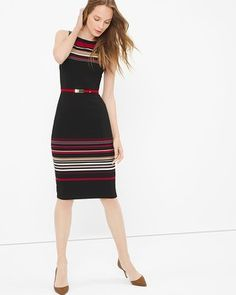 White House | Black Market Stripe Sheath Dress