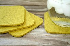 Square Felt Coasters 5mm Thick Yellow Wool Fabric Drink