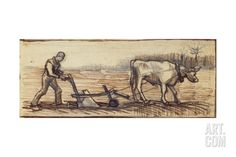 At the Plough, from a Series of Four Drawings Representing the Four Seasons Giclee Print by Vincent van Gogh at Art.com