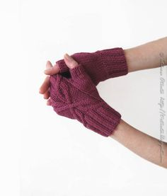 Hand knit gloves rose pink fingerless mitts gift for by Otruta