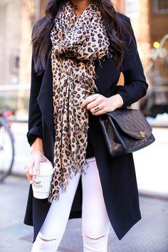 Oversized leopard print scarf