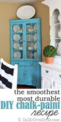 Furniture Makeover: Learn how to mix up any color of latex paint and make it into durable chalk paint. It can be left alone to look modern or distressed to look old.