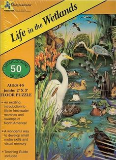 Life in the Wetlands Giant Floor Puzzle-50 Piece by Judy/Instructo. $15.95. improves visual memory. teaching guide included. Exciting introduction to the swamps of North America. Made in U.S.A.. 50 interlocking pieces. Jumbo 2' x 3' 50 piece floor puzzle. Shows wetlands scene. Ages 4-8. Teaching guide to North American freshwater marshes and swamps included.