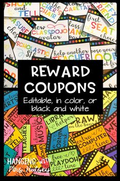 I love using a variety of fun and free classroom rewards! Rewards help with classroom management-- they also go great with Class Dojo! Learn a simple, easy, and cheap way to manage and store classroom coupons. Classroom Discipline, Classroom Behavior, Classroom Fun, Classroom Organization, Classroom Management, Behavior Management, Class Management, Classroom Economy, Kindergarten Classroom