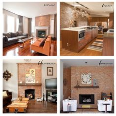 red brick fireplaces with a modern twist